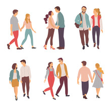People Loving Each Other Vector, Person With Partner Kissing Man And Woman, Hugging Couple Isolated. Boyfriend And Girlfriend Walking And Talking