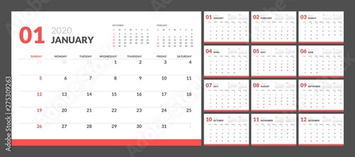 Photo Calendar for 2020 year in clean minimal table simple style