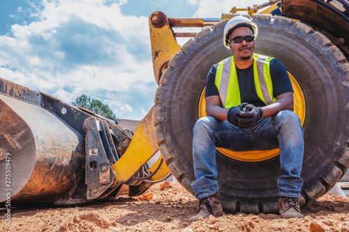 Fototapeta Portrait of diverse construction worker