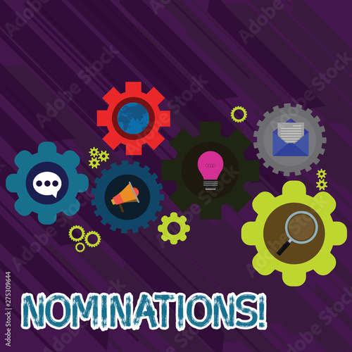 Text sign showing Nominations  Business photo text action of