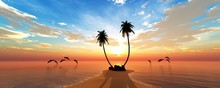 Beach With Palm Trees At Sunset, Tropical Coast With Palm Trees Under The Setting Sun