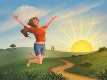 Happy Girl Jumping Over A Green Landscape