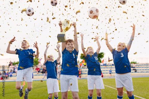 Fototapeta  Happy Boys Celebrating Soccer Championship