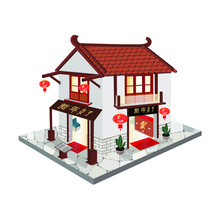 Traditional Asian House With Japanese Restaurant Isometric 3D Design Vector.