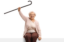 Happy Senior Woman With A Cane...