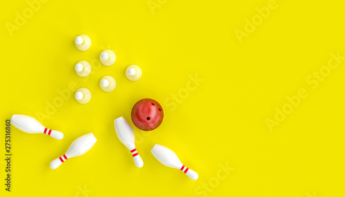 Fotografiet 3d render image with bowling, ball and skittles on a yellow background