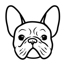 French Bulldog Black And White Hand Drawn Cartoon Portrait. Funny Cute Bulldog Puppy Face. Dogs, Pets Themed Design Element, Icon, Logo.