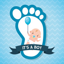 Boy Balloon Footprint Greeting Card Baby Shower