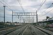 SANTIAGO, CHILE - OCTOBER 2015: A four track railway in Santiago