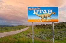 Dinosaur On Welcome To Utah Si...