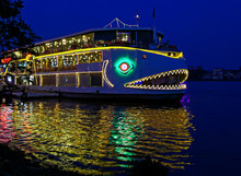 Decorated Boat At Night