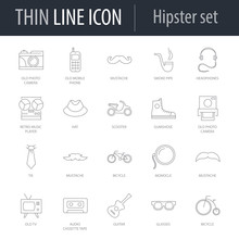 Icons Set Of Hipster. Symbol Of Intelligent Thin Line Image Pack. Stroke Pictogram Graphic For Web Design. Quality Outline Vector Symbol Concept Collection. Premium Mono Linear
