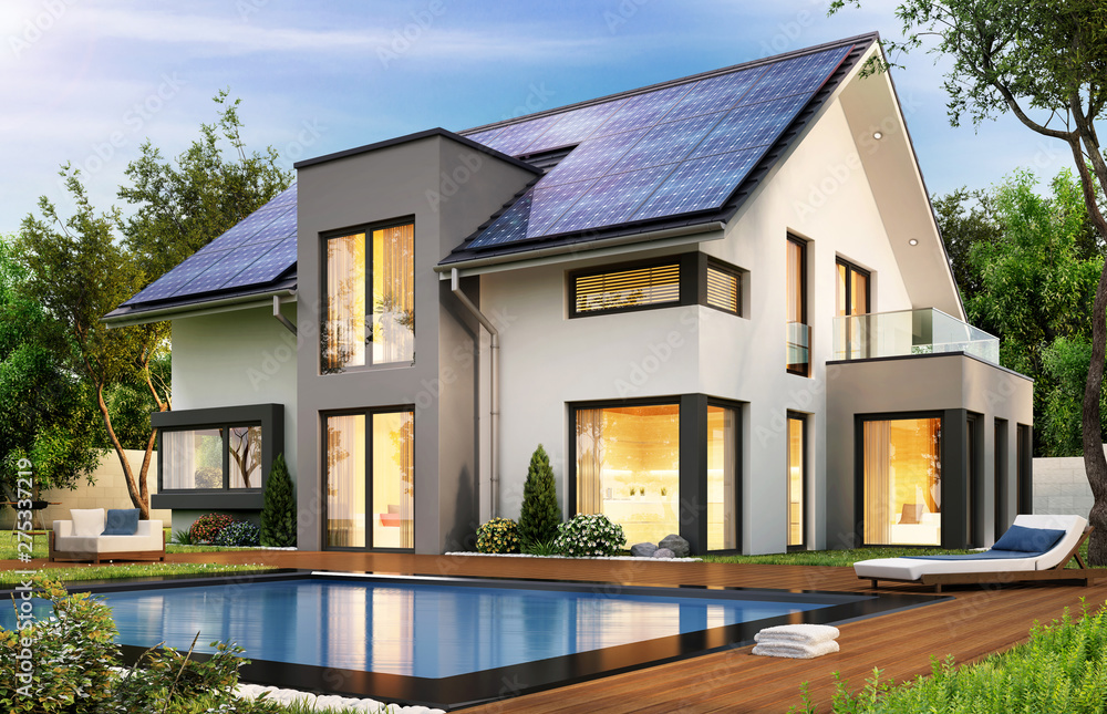 Fototapety, obrazy: Modern house with solar panels on the gable roof