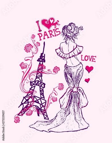 Foto op Plexiglas illustration of Eiffel tower and woman
