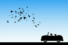 Cartoon Retro Car On Road. Vector Illustration With Silhouettes Of Woman And Dog Traveling In Cabriolet. Flocks Of Birds Flying In Sky. Blue Pastel Background