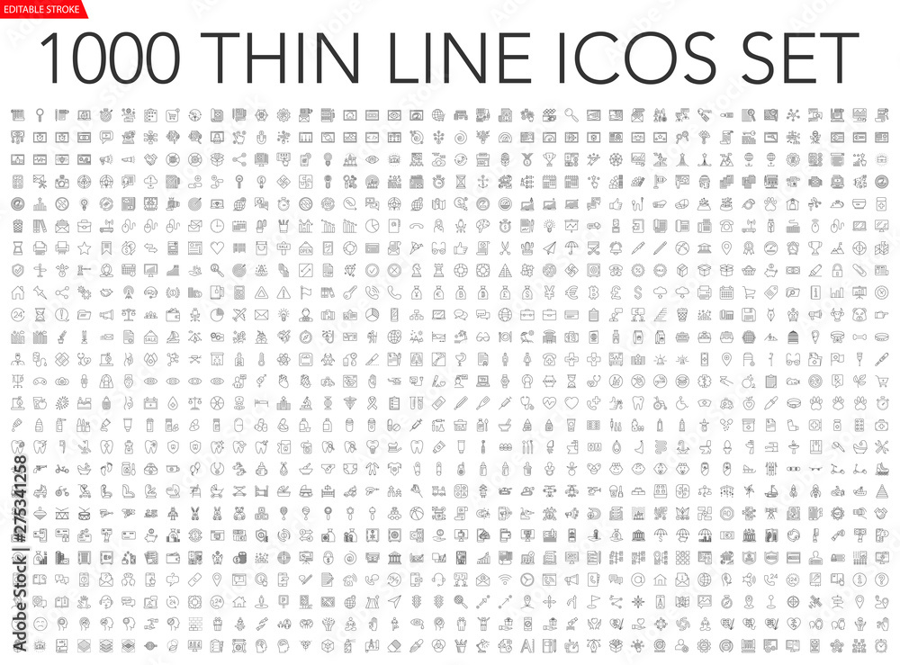 Fototapety, obrazy: Set of 1000 thin line icons - business, finance, office, banking, SEO, travel, drugs, dental, medical, web, baby, web development, digital marketing, conscious living, navigation, graphic design, pets