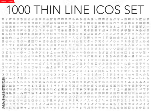 Set of 1000 thin line icons - business, finance, office, banking, SEO, travel, d Obraz na płótnie