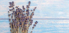 Bunch Of Dried Lavender On Blue Wooden Background