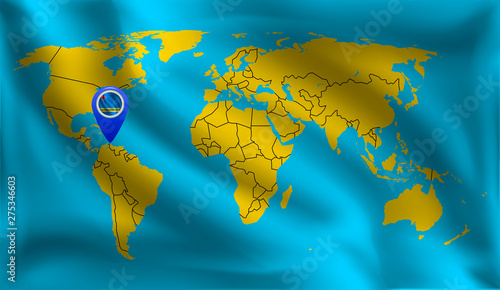 Aruba\'s location mark on the world map, Aruba flag, vector ...