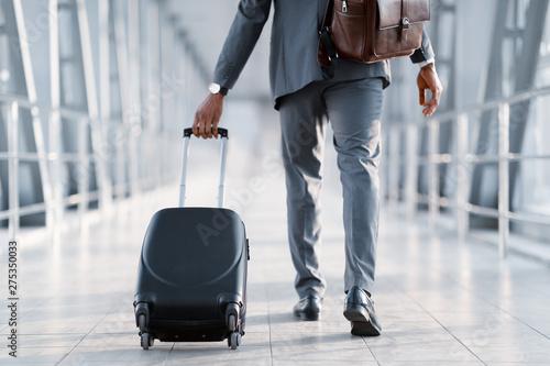 Fotografia Business Trip. Businessman Carrying Suitcase, Back View