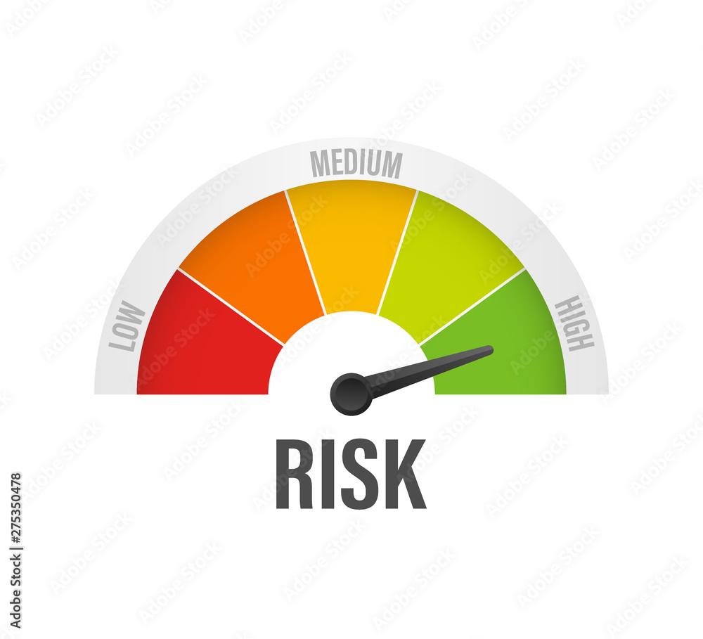 Fototapeta Risk icon on speedometer. High risk meter. Vector stock illustration.