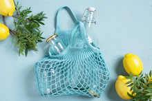 Blue Background With Mesh Bag,...