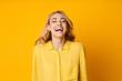 Leinwandbild Motiv Woman Laughing Out Loud, Hearing Funny Joke