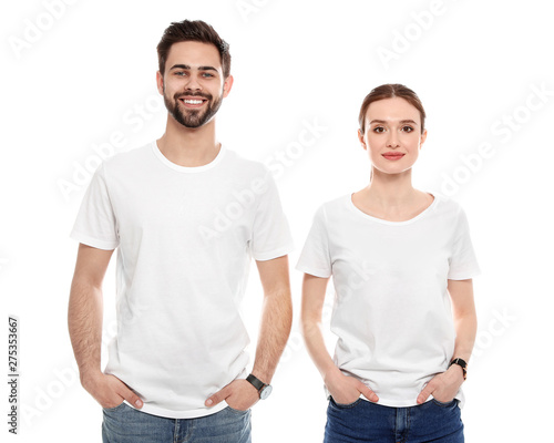 Obraz Young people in t-shirts on white background. Mock up for design - fototapety do salonu