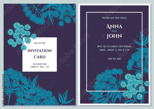 Wedding invitation card with blue angelica Fototapet