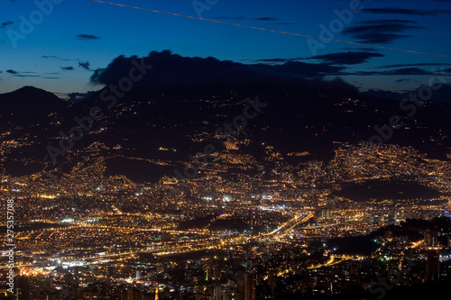 Poster South America Country Medellin, Antioquia, Colombia. September 18, 2009: Night panoramic of Medellin city