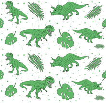 Vector Seamless Pattern Of Hand Drawn Doodle Sketch Dinosaur And Palm Leaves Isolated On White Background