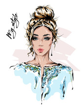 Hand Drawn Beautiful Young Woman In Stylish Jacket. Blonde Hair Girl. Fashion Woman Look. Sketch. Vector Illustration.