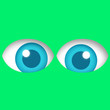 canvas print picture - big blue eyes looking forward with cartoon green background