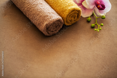 Poster Spa Chocolate Spa . Composition brown towel in hotel room of spa treatment