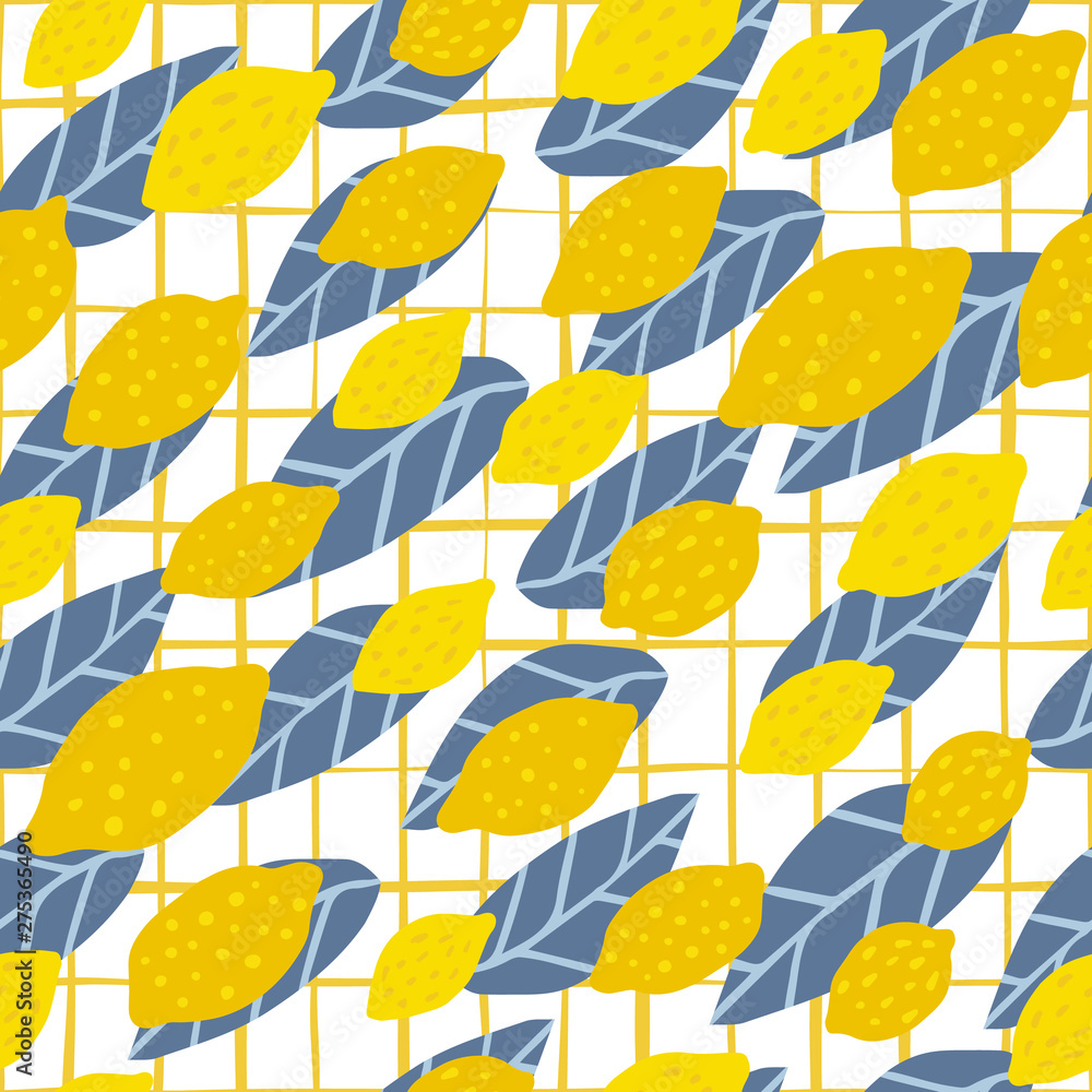 Lemon seamless pattern on stripe background. Print with citrus fruits collection.