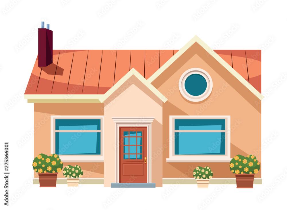 Fototapeta house building icon cartoon isolated