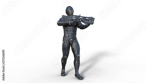 Photo Futuristic android soldier in bulletproof armor, military cyborg armed with sci-