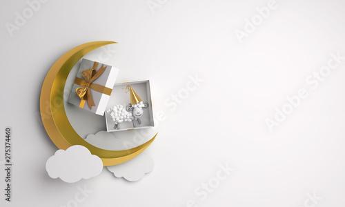 Top view of gift box, sheep, gold crescent moon, cloud on studio lighting white background Fototapeta