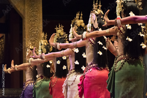 Fotografie, Tablou  Beautiful hands of Apsara Khmer dance depicting the Ramayana epic