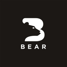 Letter B For Bear Logo Icon Ve...