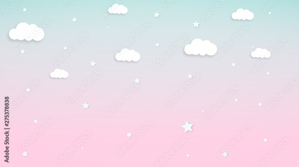 Abstract kawaii Sweet Colorful Cloud and star background. Soft gradient pastel Comic graphic. Concept for wedding card design or presentation