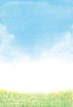 水彩 空と芝生 背景イラスト