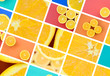 A collage of many pictures with juicy oranges. Set of images with fruits and different colors