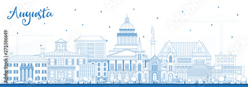 Outline Augusta Maine City Skyline with Blue Buildings. Wallpaper Mural