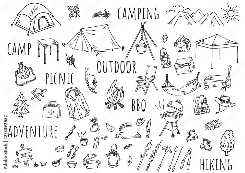Fototapeta 手描きイラスト:キャンプ アウトドア