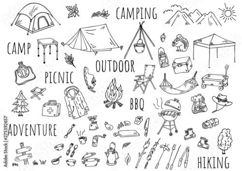 Obraz 手描きイラスト:キャンプ アウトドア - fototapety do salonu