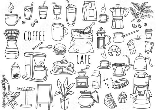 Obraz na plátně 手描きイラスト:コーヒーグッズ