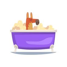 Funny Kangaroo Taking Bath, Funny Animal Cartoon Character Relaxing In Bathtub Full Of Foam Vector Illustration