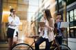 Leinwanddruck Bild - Portrait of happy business friends enjoying the break from meeting