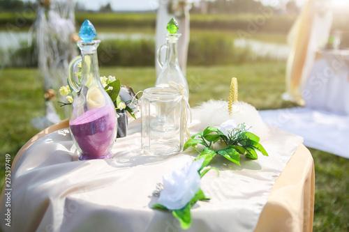 Outdoors wedding ceremony details.